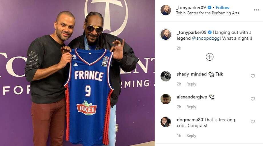 "Former Spur Tony Parker hung out with West Coast rapper Snoop Dogg backstage and onstage during his DJ performance at The Tobin Center. Snoop has assumed a list of names, but one of his newer ones, ""DJ Snoopadelic,"" was who fans, including Parker, showed up to see. The moniker is used for his music career as a DJ. No. 9 was on hand to welcome the musician with two of his jerseys — one from the Spurs and another from the French National Team — and to introduce him to the crowd. Photo: Instagram Screengrab"
