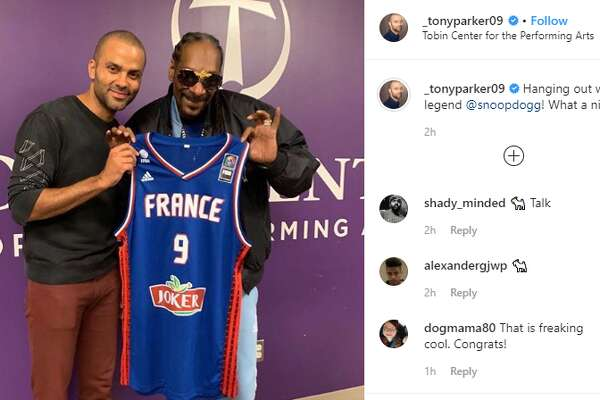 """Former Spur Tony Parker hung out with West Coast rapper Snoop Dogg backstage and onstage during his DJ performance at The Tobin Center. Snoop has assumed a list of names, but one of his newer ones, """"DJ Snoopadelic,"""" was who fans, including Parker, showed up to see. The moniker is used for his music career as a DJ.No. 9 was on hand to welcome the musician with two of his jerseys - one from the Spurs and another from the French National Team - and to introduce him to the crowd."""