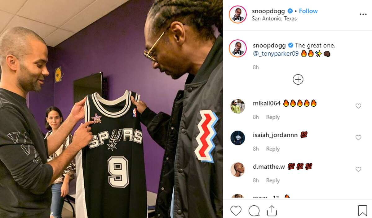 Former Spur Tony Parker hung out with West Coast rapper Snoop Dogg backstage and onstage during his DJ performance at The Tobin Center. Snoop has assumed a list of names, but one of his newer ones,
