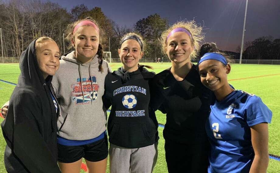 Sarah Ramadanovic, Kate Roselli, Mia Angelini, Ainiah Perretta and Natania Muriel celebrated Senior Nght with a 5-0 victory. Photo: Contributed Photo / Christian Heritage Athletics / Trumbull Times