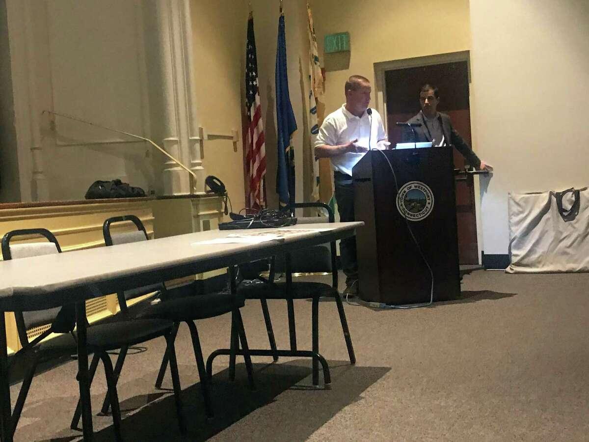 Director of Public Works Pete Ratkiewich, left, and Langan engineer David Gagnon, left, led a presentation on improvements at Baldwin Parking Lot on Wednesday. Taken Nov. 6, 2019 in Westport, Conn.
