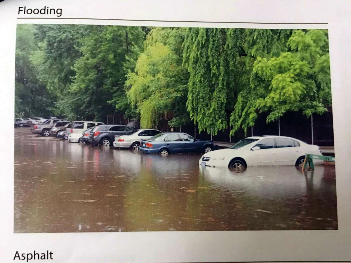 A photo of flooding that has occurred at Baldwin Parking Lot.