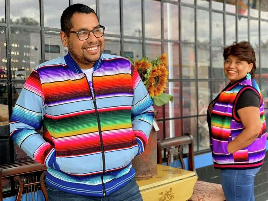 The warmth of the brightly colored blanket-like shawl can now be taken with you wherever you go with new vests and jackets sold by Karolina's Antiques. The shop debuted the new inventory, made of serape fabric, on Wednesday. Karolina's Antiques told mySA.com the vests and jackets are handmade in Mexico. Photo: Courtesy, Karolina's Antiques