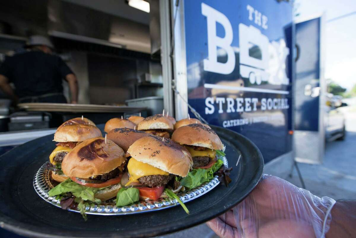 A plate of sliders from The Box Street Social