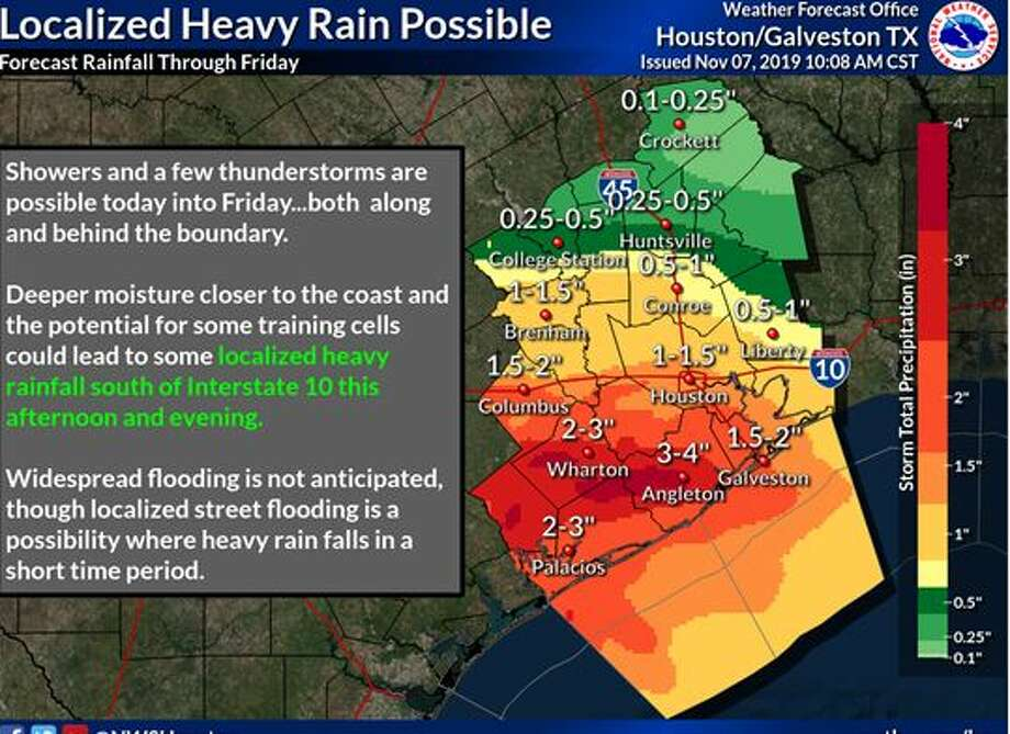 As a cold front makes its way through the area, heavy rain fall could occur throughout Houston. Photo: National Weather Service