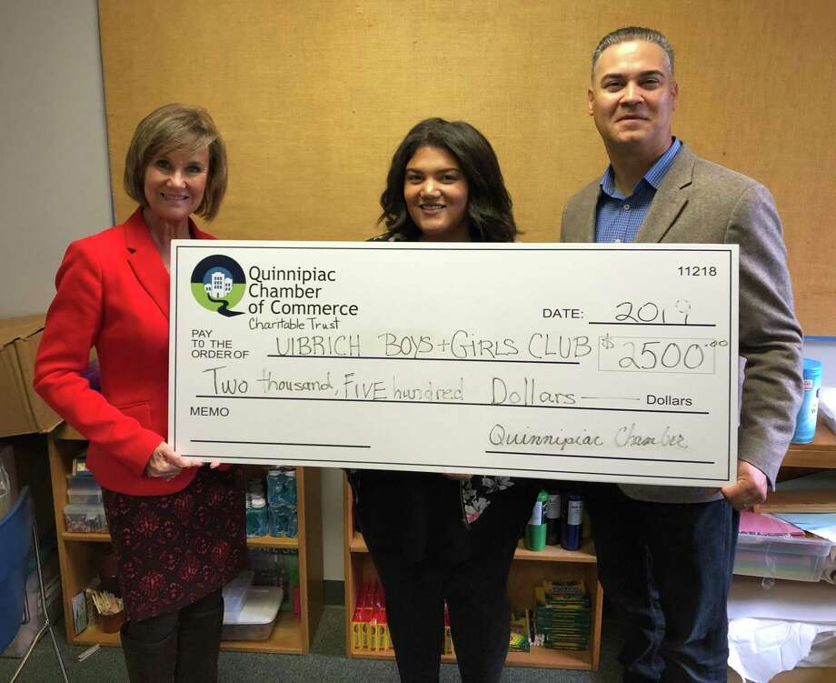 "SUPPORTING STEM: From left, Quinnipiac Chamber of Commerce Executive Director Dee Prior Nesti, Ulbrich Boys & Girls Club North Haven Unit Director Alexandra James and UBGC Executive Director Carlos Collazo with a check from the Quinnipiac Chamber of Commerce Charitable Trust supporting STEM learning at the club. ""The Quinnipiac Chamber of Commerce STEM Learning Center at our North Haven Unit will inspire our youth, showcase career opportunities, and prepare them to address real-world problems. Without the support of community partners such as the Quinnipiac Chamber of Commerce, we would not be able to provide our high level of programs while keeping the Club affordable for families,"" Collazo said in a release. Photo: Contributed Photo"