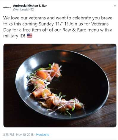 Ambrosia Kitchen & Bar  2003 Lexington St, Houston, TX 77098 Date: Monday, Nov. 11, 2019 We love our veterans and want to celebrate you brave folks this coming Sunday 11/11! Join us for Veterans Day for a free item off of our Raw & Rare menu with a military ID! Photo: Twitter Screenshot