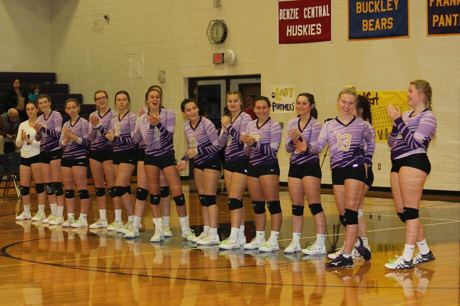 Frankfort's volleyball players are announced ahead of their district semifinal matchup against Leland on Nov. 6. Photo: Robert Myers