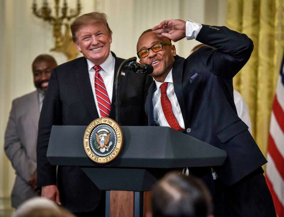 Former inmate Gregory Allen appeared at the White House in April with President Trump to celebrate the First Step Act, the administration's landmark criminal justice reform bill. Photo: Washington Post Photo By Bill O'Leary. / The Washington Post