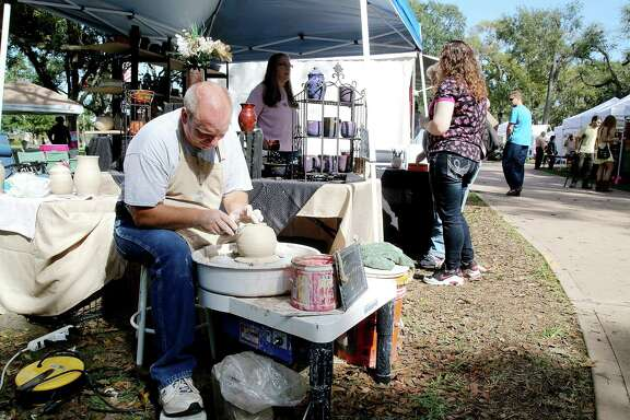 Don Williams making a planter during the 6th annual Friendswood Art in the Park festival four years ago. The event is marking its 10th year when it occurs Nov. 16-17 at Stevenson Park and will feature performers such as the Bay Area Ballet Theater Guild and musicians Grifters & Shields.