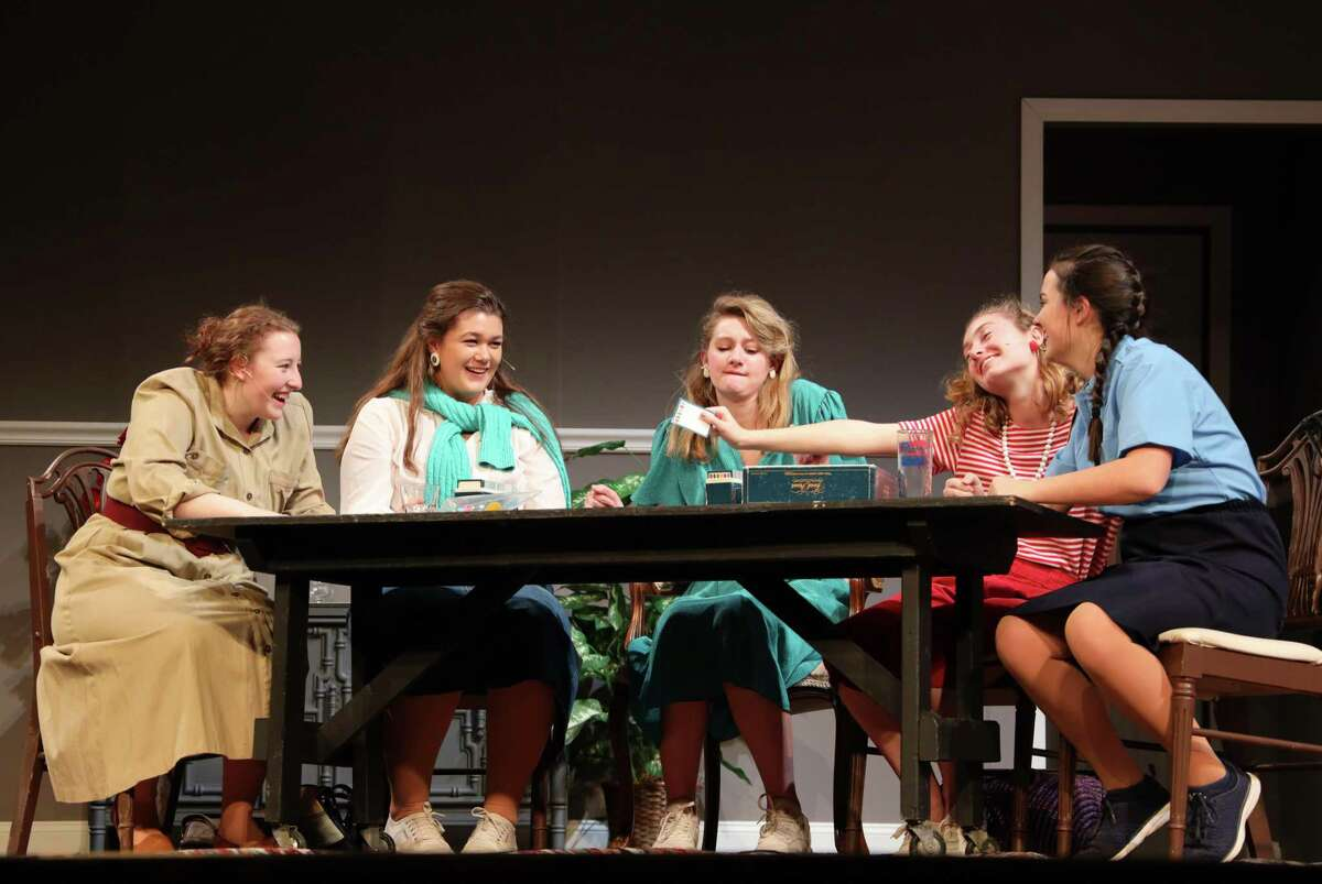 Lucy Basile, Callie Amill, Caroline Malley, Sophia Smith and Kyra Linekin in the Ridgefield High School production of The Odd Couple (female version) which opens tonight at 7:30.