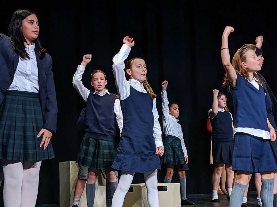 """Actors rehearse in costume for Podium Player's rendition of the hit Broadway show, """"Matilda the Musical,"""" which will be performed this weekend and next at East Hampton High School. Photo: Jordan Werme Photo"""