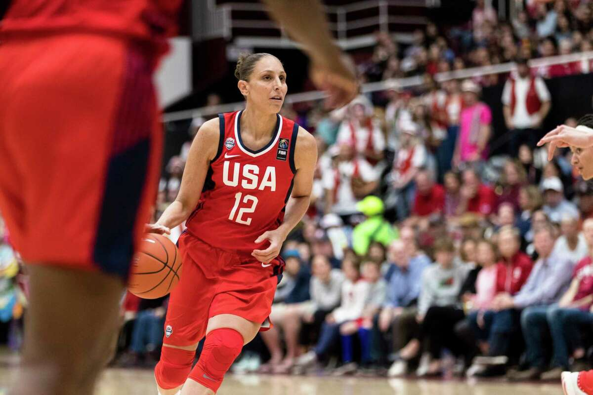 Team USA guard Diana Taurasi (12) dribbles against Stanford in the second quarter of an exhibition women's basketball game, Saturday, Nov. 2, 2019, in Stanford, Calif. (AP Photo/John Hefti)