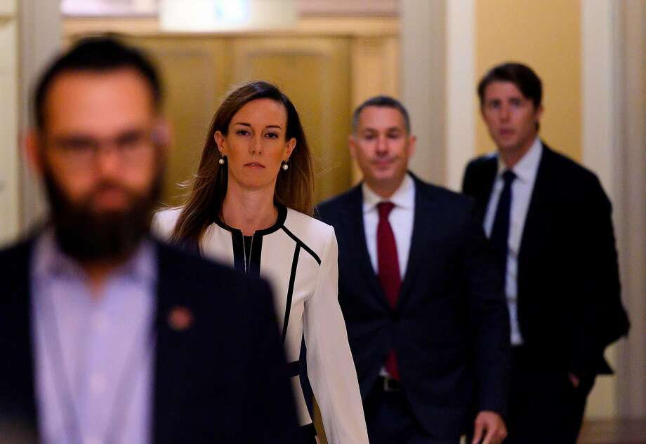 Jennifer Williams, an aide to Vice President Mike Pence, arrives on Capitol Hill. Lawmakers said her testimony to a House panel had lined up with the accounts of others. Photo: Andrew Caballero-Reynolds / AFP / Getty Images