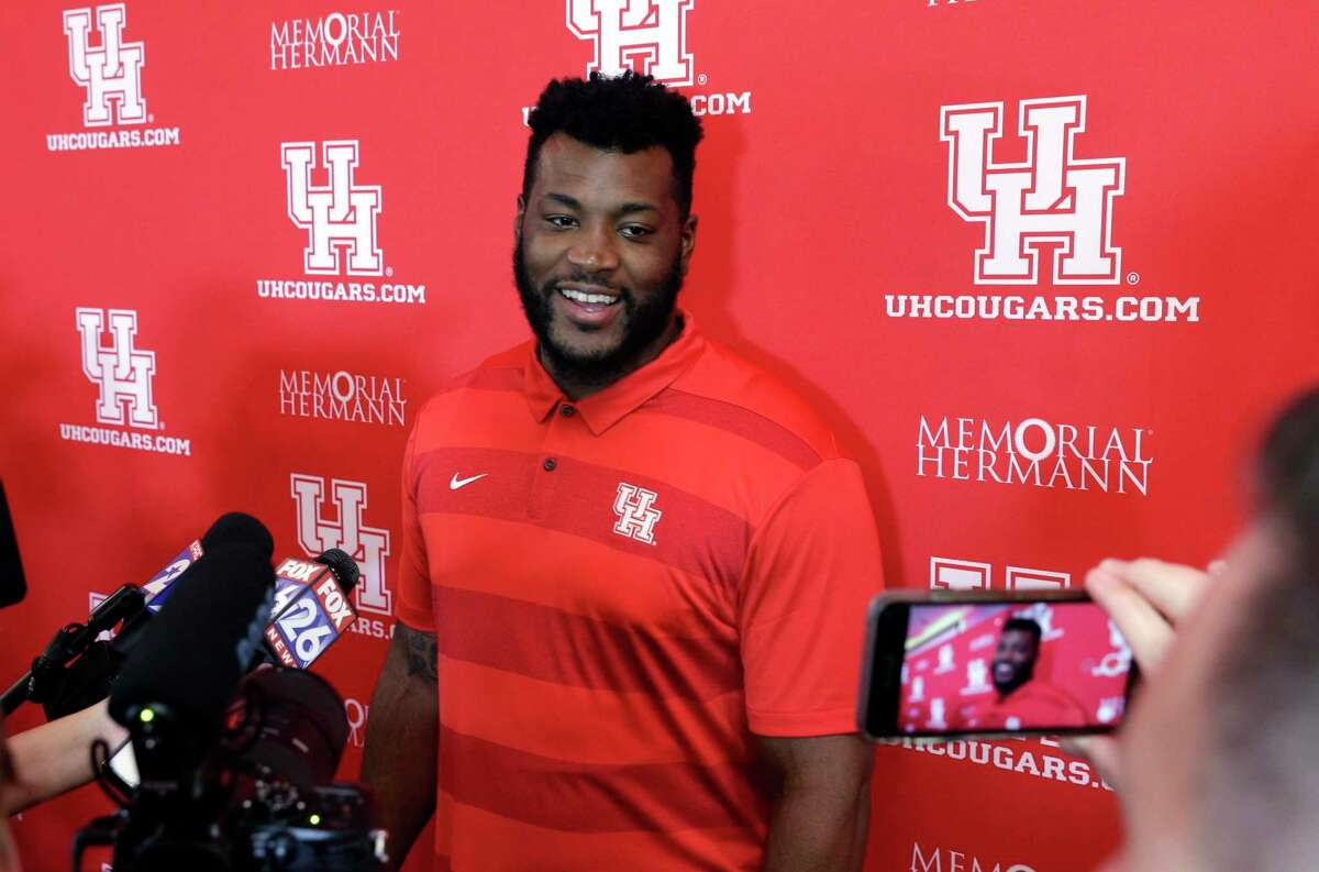 PHOTOS: UH vs. UCF Cougars' Josh Jones answers questions from media during the University of Houston football media day Thursday, Aug. 2, 2018 at the Carl Lewis Auditorium on the campus in Houston, TX. Michael Wyke/Contributor >>>See more photos from the Cougars' game last week ...