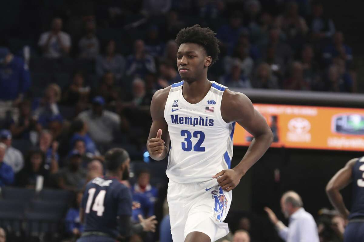 James Wiseman in the first half of an NCAA college basketball game Wednesday, Nov. 6, 2019, in Memphis, Tenn. (AP Photo/Karen Pulfer Focht)