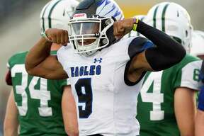 New Caney quarterback Zion Childress (9) was named the District 9-5A (Div. I) MVP. Childress, who totaled 3,573 yards of offense and 38 touchdowns, was a unanimous selection.