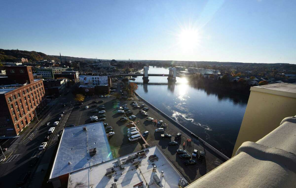 View of the Troy riverfront and Green Island Bridge seen from the rooftop at Hedley Park Place on Wednesday, Nov. 6, 2019, in Troy, N.Y. A new banquet and meeting facility is being constructed on the roof of the former Arrow shirt factory on the Troy riverfront. (Will Waldron/Times Union)