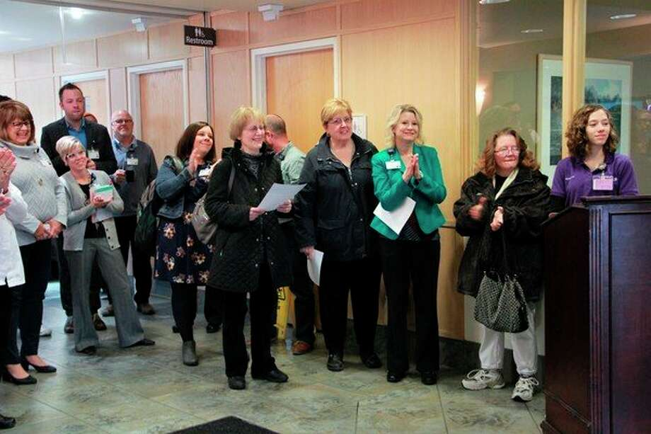 Spectrum staff celebrated the grand opening of the new Spectrum Health pediatric observation units at Big Rapids and Reed City hospitals. This effort is to help keep pediatric patients local,stateda press release. (Herald Review photo/Alicia Jaimes)
