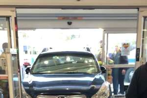 An older man crashed through the front doors of CVS on West Main Street in Stamford on Wednesday afternoon. No injuries were reported.