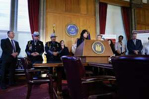 Senator Sue Serino, at podium left, and Senator Patrick Gallivan, at podium right, hold a press conference at the Capitol on Thursday, Nov. 7, 2019, in Albany, N.Y. The two senators held the press conference to talk about the dangers to public safety that can occur when the new bail reform law takes effect in January.   (Paul Buckowski/Times Union)
