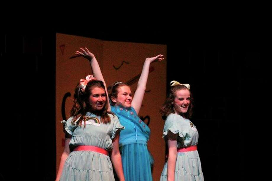 Abbie Strasser, Mary Hobart and Maddie Affer rehearse one of the show's songs. They play characters Chenille, Lucille and Camille. (Pioneer photo/ Catherine Sweeney)