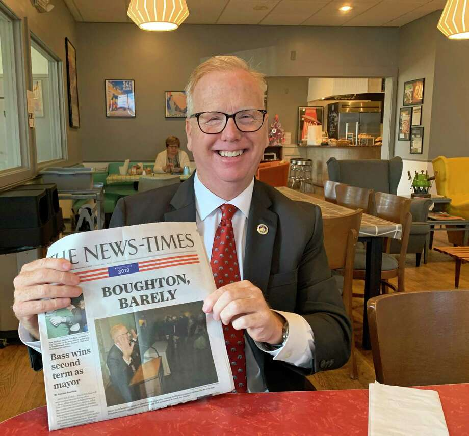 Mayor Mark Boughton shows the local newspaper the day after winning an unprecedented 10th term. Photo: Jacqueline Smith / Hearst Connecticut Media Group