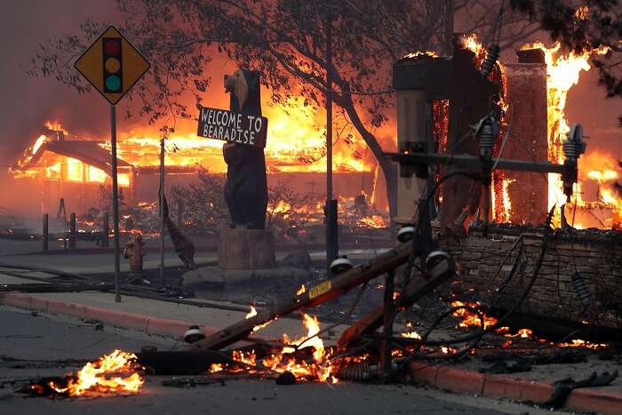 A Black Bear Diner and nearby businesses burn as the Camp Fire destroys a large portion of Paradise in Butte County, Calif.. on Thursday, November 8, 2018. The wildfire claimed 85 lives and over 14,000 structures and left 50,000 homeless.