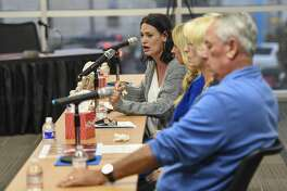 Marcy Askins, sister of Joe Griffiths who was killed during the mass shooting in August, testifies before the Texas House Committee on Mass Violence Prevention and Community Safety heard testimony Thursday, Nov. 7, 2019 in the Zant Community Room in Odessa College in Odessa.