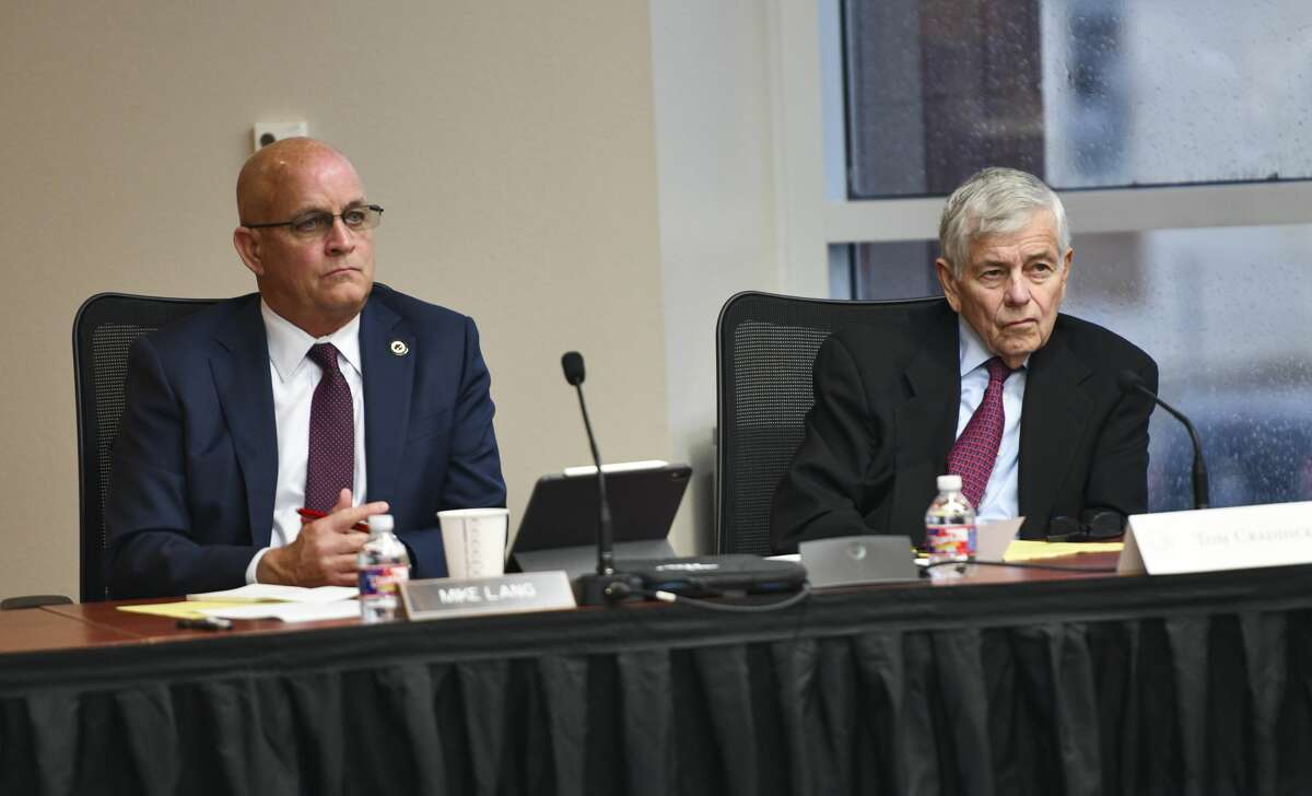 State Rep. Mike Lang, left, and State Rep. Tom Craddick listen to testimony before the Texas House Committee on Mass Violence Prevention and Community Safety on Nov. 7, 2019 at Odessa College. Craddick will begin his 53rd year as a state representative when the 87th Legislature convenes Jan. 12.
