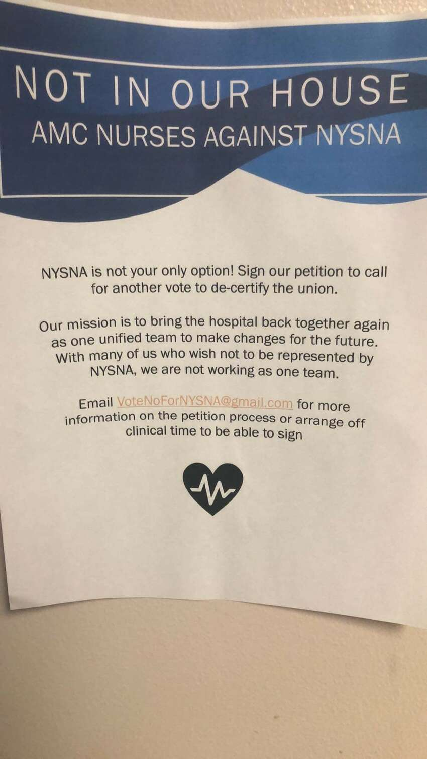 A flier at Albany Medical Center advertises an effort underway to decertify the results of an April 2018 election, in which nurses voted 2-1 in favor of joining the New York State Nurses Association.