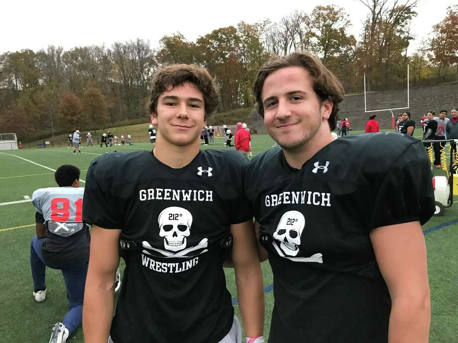 Junior Vincent Ceci, left, and TJ Abbazia are junior linebackers on the Greenwich football team. They have flourished in their first season in a starting role. Photo: David Fierro /Hearst Connecticut Media