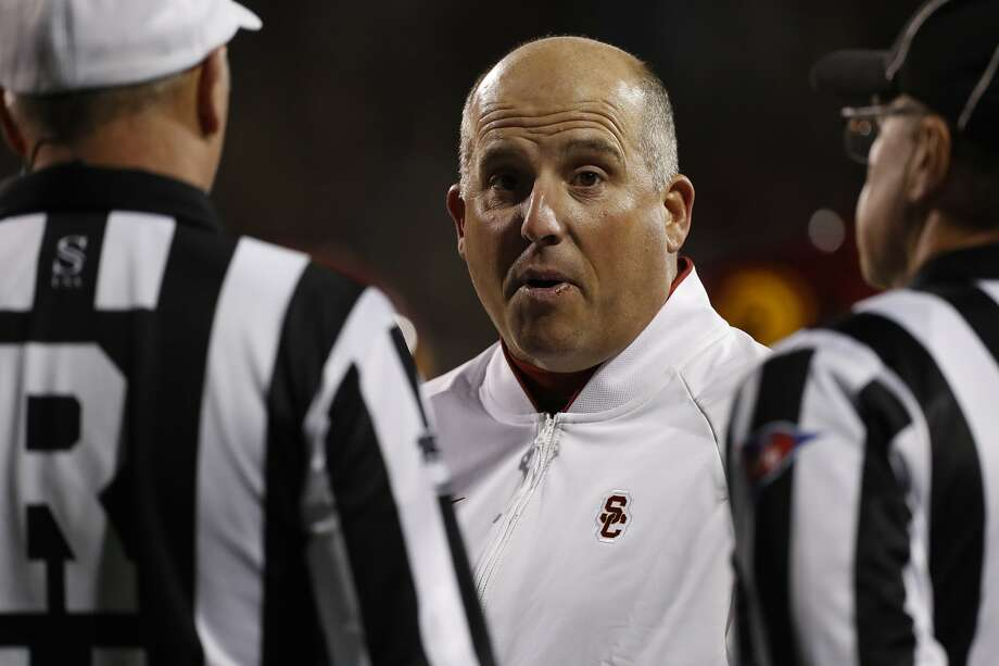 USC head coach Clay Helton is said to be on the hot seat after the school hired Mike Bohn as the school's new athletic director. Photo: David Zalubowski / Associated Press