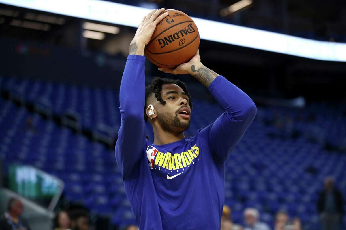 D'Angelo Russell #0 of the Golden State Warriors warms warms up before their game against the LA Clippers at Chase Center on October 24, 2019 in San Francisco, California.