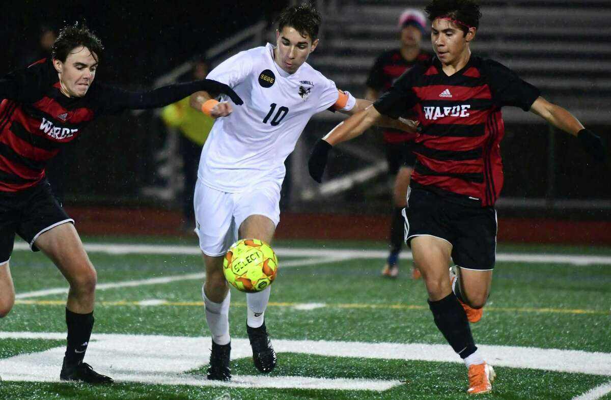 #10 Tiago Frazao and the Trumbull Eagles take on #8 Cole Jennings and #19 Eric Jara and the Fairfield Warde Mustangs in their FCIAC boys soccer championship Thursday, November 8, 2019, at Norwalk High School in Norwalk, Conn.
