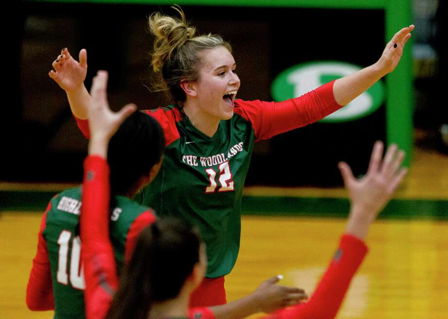 The Woodlands setter Clara Brower (12) reacts after scoring a point during the second set of a Region II-6A area high school volleyball playoff match at Brenham High School, Thursday, Nov. 7, 2019, in Brenham. Photo: Jason Fochtman, Houston Chronicle / Staff Photographer / Houston Chronicle