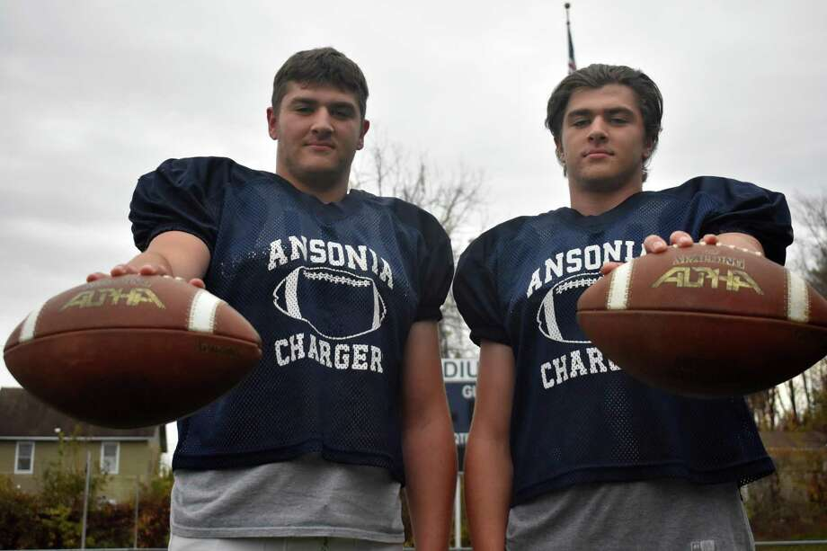 Ansonia twins Garrett Cafaro and Tyler Cafaro have key players for the undefeated Chargers football team this season. (Pete Paguaga, Hearst Connecticut Media) Photo: Pete Paguaga / Hearst Connecticut Media / Connecticut Post