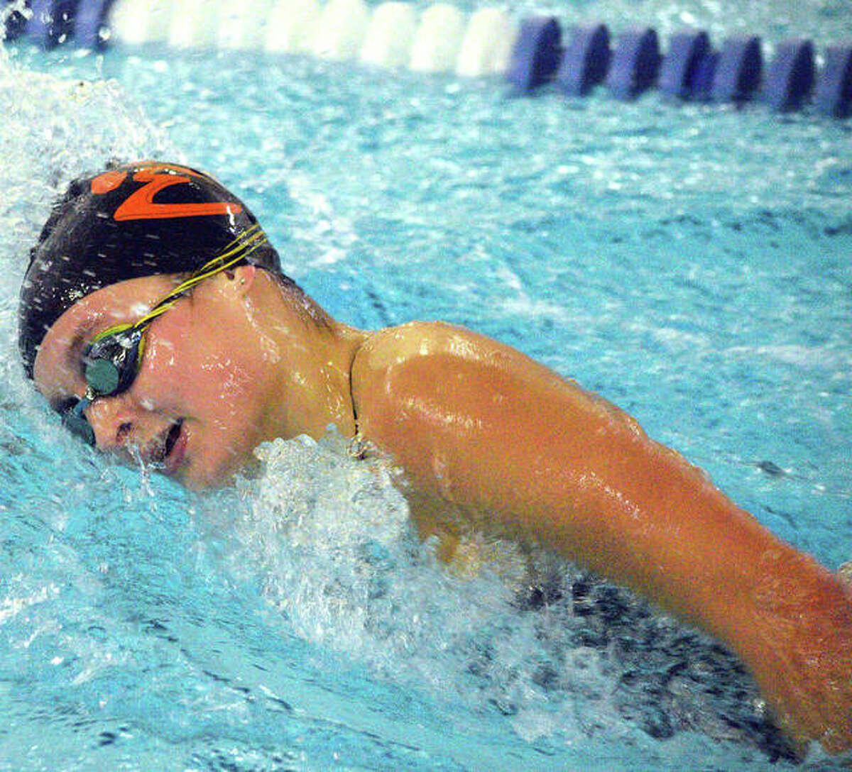 Edwardsville's Isabella Grinter swims in the 500-yard freestyle during Thursday's Southern Illinois High School Girls Championships at Chuck Fruit Aquatic Center.