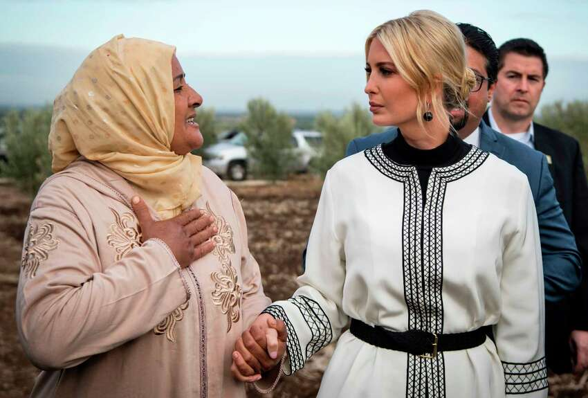 TOPSHOT - Ivanka Trump (R), daughter and advisor of US President Donald Trump, meets with local women farmers in the Moroccan city of Sidi Kacem on November 7, 2019. (Photo by FADEL SENNA / AFP) (Photo by FADEL SENNA/AFP via Getty Images)