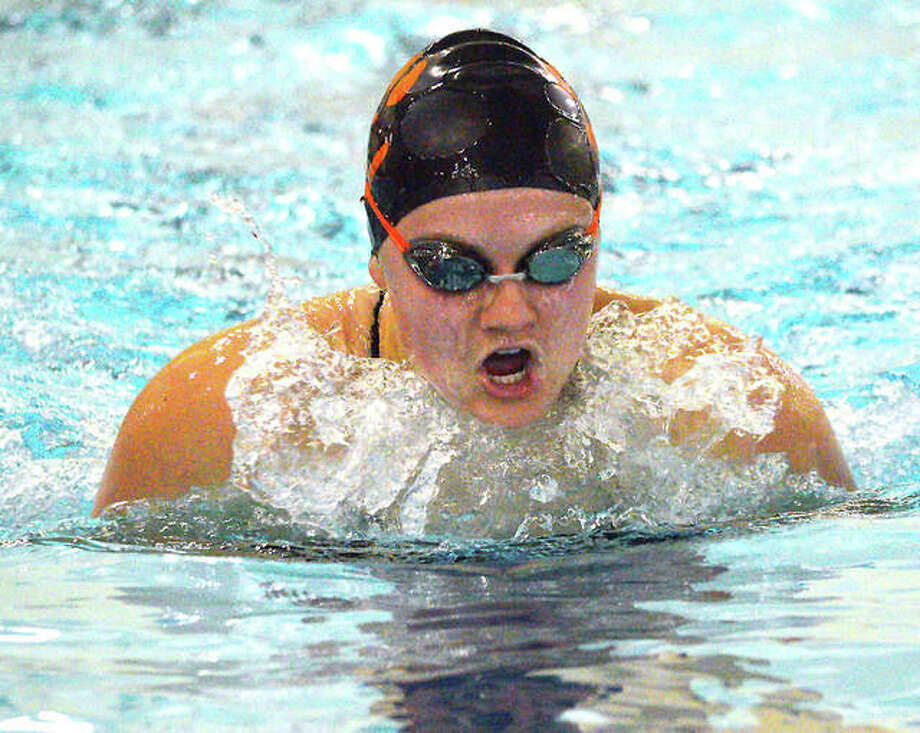 Edwardsville's Kylie Schumacher swims in the 200-yard individual medley at Thursday's Southern Illinois Championships at the Chuck Fruit Aquatic Center in Edwardsville. Photo: Scott Marion | For The Telegraph