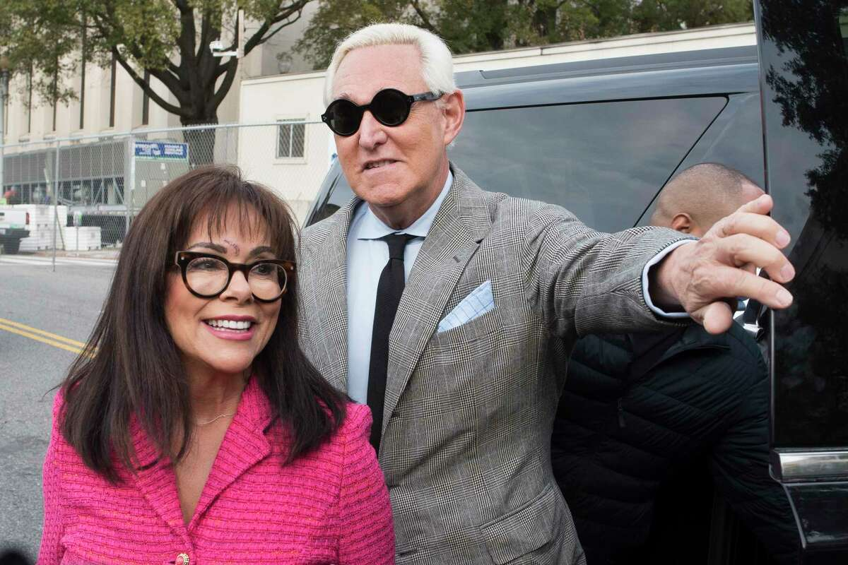 Roger Stone, and his wife Nydia, arrive at Federal Court for his federal trial in Washington, Thursday, Nov. 7, 2019. (AP Photo/Cliff Owen)