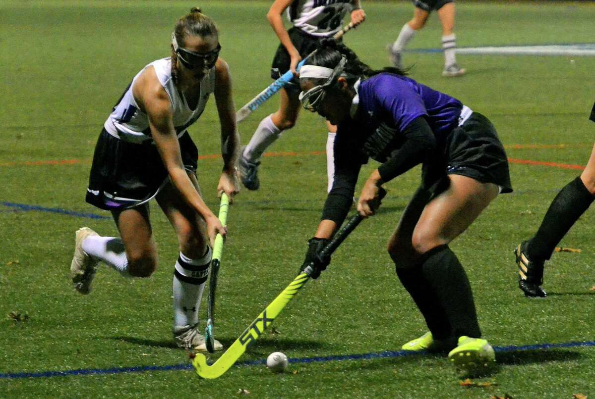 Girls championship field hockey action between North Branford and Westbrook in Clinton, Conn., on Thursday Nov. 7, 2019.