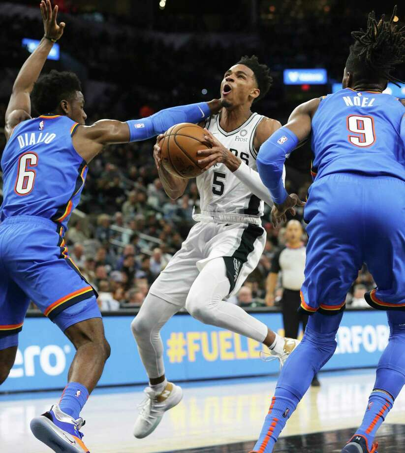 Dejounte Murray likely would have had his first career triple-double if not for a minutes restriction. Photo: Tom Reel /Staff Photographer / 2019 SAN ANTONIO EXPRESS-NEWS