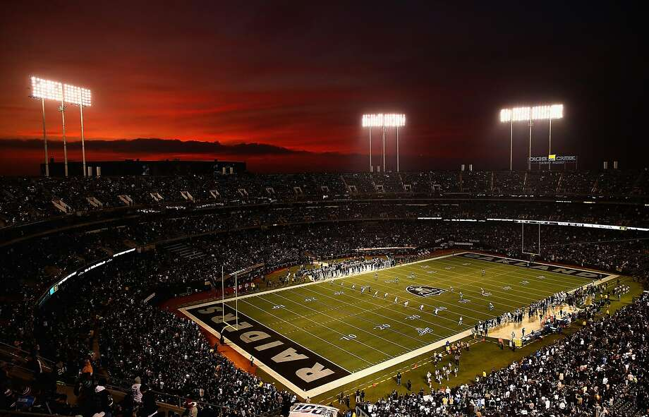 A general view of the kickoff for the game between the Los Angeles Chargers and the Oakland Raiders at RingCentral Coliseum on November 07, 2019 in Oakland, California. (Photo by Ezra Shaw/Getty Images) Photo: Ezra Shaw / Getty Images