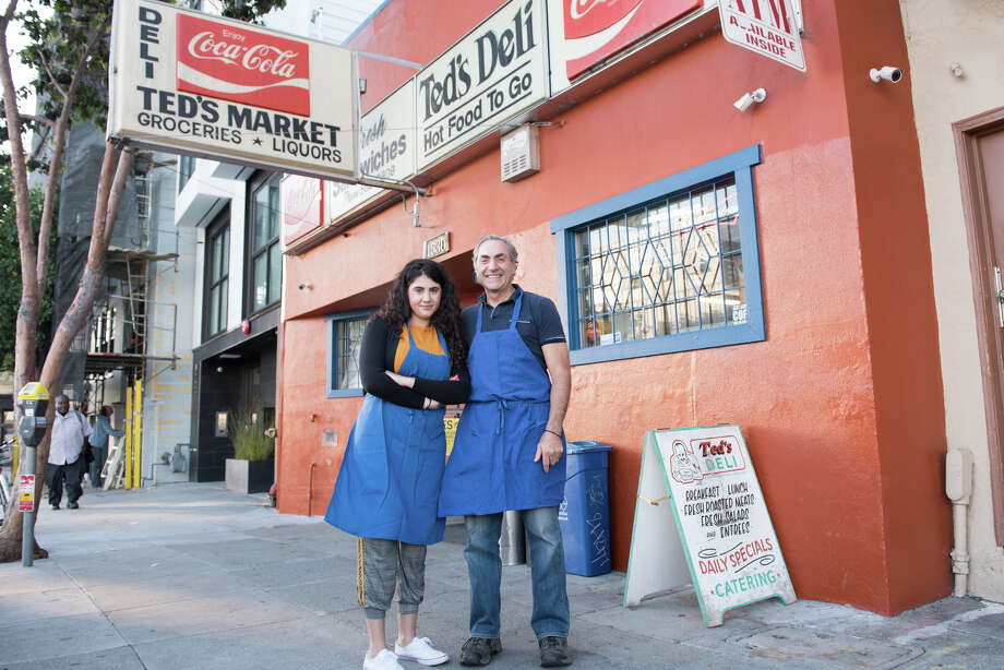 David Zouzounis, pictured here with his daughter Miriam out front of Ted's Market. Photo: Blair Heagerty / SFGate