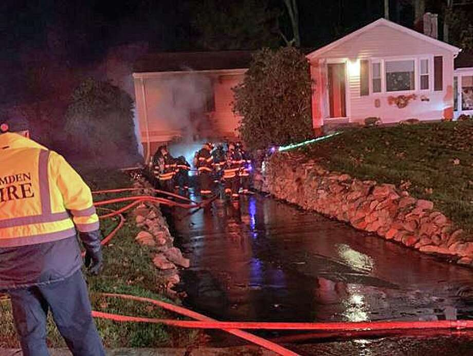 A garage fire at 89 Stanley Road broke out early Friday morning in Hamden on Nov. 8, 2019. Initial reports indicate the fire started in the garage and extended to the home. Photo: Hamden Fire Department Photo