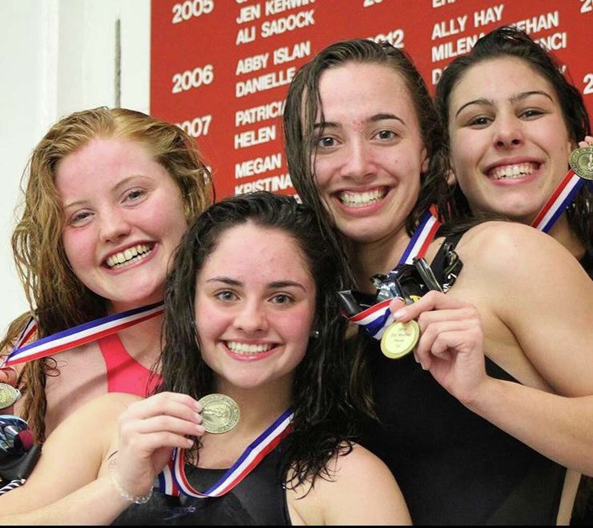 Trumbull's foursome of senior Mia Zajac, sophomore Lauren Walsh, senior Ashleigh Piro and senior Julia Nevins combined for a winning time of 1:46.86 in the 200-yard medley relay at the FCIAC Championships. Walsh was the Most Outstanding Swimmer.