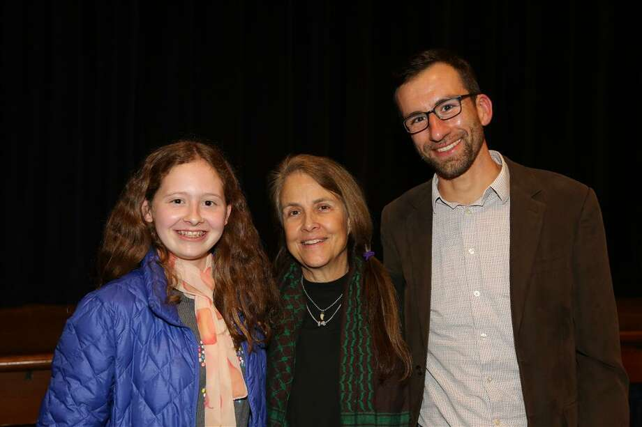 Ninth grader Fiona Burton of Stamford, Poet Naomi Shihab Nye and Upper School English and History Teacher Will McDonough. Photo: Contributed Photo