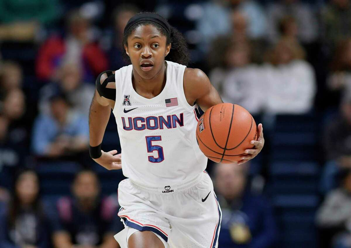 Connecticut's Crystal Dangerfield during the first half of an NCAA college exhibition basketball game, Sunday, Nov. 3, 2019, in Storrs, Conn. (AP Photo/Jessica Hill)