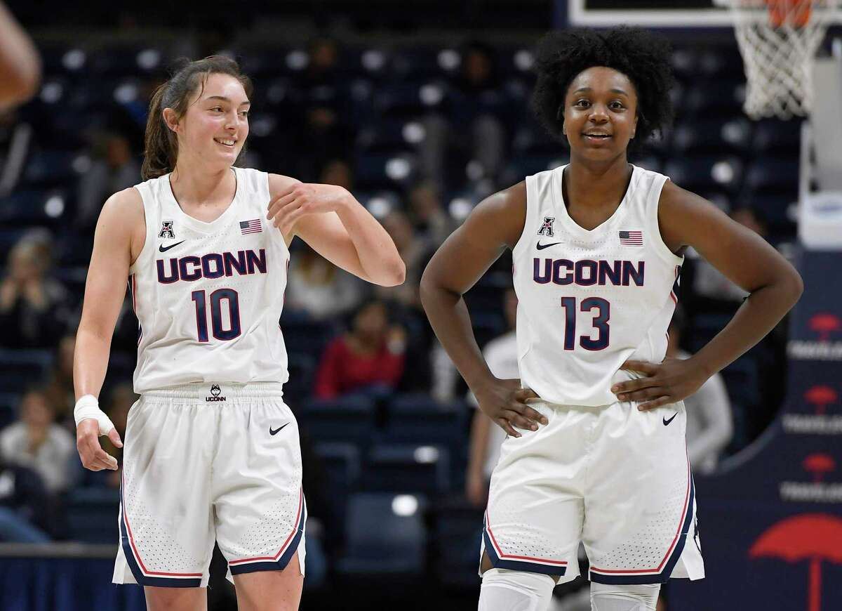 UConn's Molly Bent and Christyn Williams during the second half of an NCAA college exhibition basketball game on Nov. 3 in Storrs.